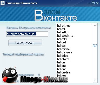 Vzlom Vkontakte- это новейшая программа для взлома паролей популярной сети ВКонтак